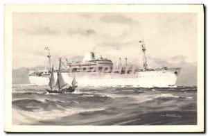 Postcard Old Ship Ship Company of Laos Messageries Maritimes
