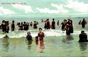 Maine Old Orchard Beach Bathing Scene