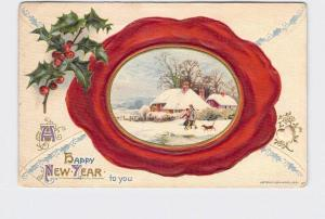 ANTIQUE POSTCARD WINSCH NEW YEAR ENVELOPE WAX SEAL SNOW COVERED COTTAGE WITH COU