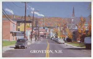 P1194 vintage postcard unused street scene old cars groveton new hampshire