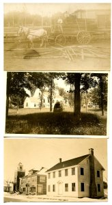 3 RPPC's - Town Scene, Church, Wagonload of Lumber
