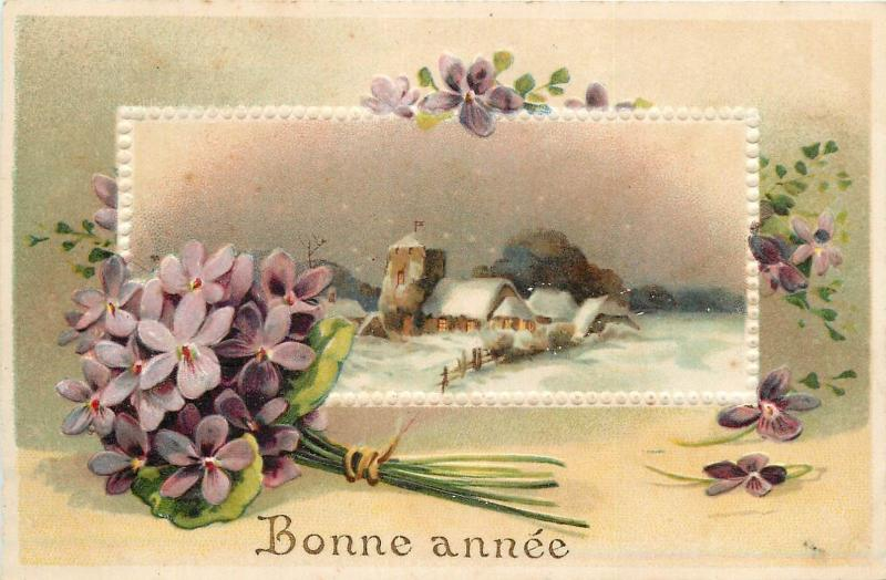 Happy New Year embossed purple violet flowers winter landscape fantasy 1900s