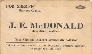 E95/ New Cumberland West Virginia Non-Postcard Advertising McDonald Sheriff
