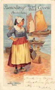BENSDORP'S ROYAL DUTCH COCOA Amsterdam Bartlett Boston 1900s Ad Vintage Postcard