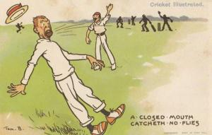 Tom Browne Cricket A Closed Mouth Catcheth No Flies Comic Postcard