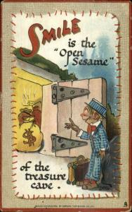 DWIG Smile Series Man Discoveres Treasure Bags of Money c1910 Postcard