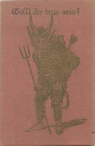 Rare Christmas greetings pre 1920 Krampus devil silhouette novelty postcard