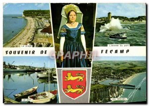 Modern Postcard Souvenir De Fecamp Beach Woman Wearing The Folklore cliffs