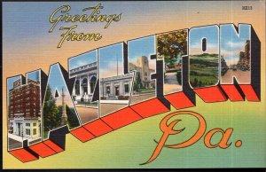 Pennsylvania Large Letter - MultiView - Greetings from HAZLETON - LINEN