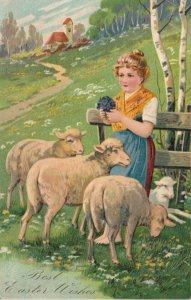 EASTER, 1900-10s; Girl holding bouquet of flowers, standing with sheep, PFB 6733