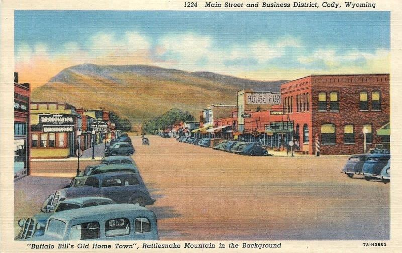 Cody Wyoming~Main Street~Business District~Furniture Store~1940s Linen Postcard