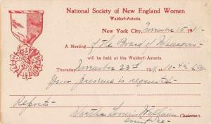 New York Waldorf Astoria National Society of New England Women Postcard J65624