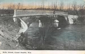 Grand Rapids Wisconsin~Belle Island Concrete Double Arch Bridge~1910 Postcard