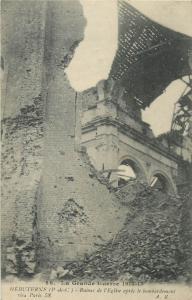 France Grande Guerre WW1 war disasters HEBUTERNE church ruins