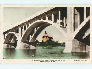 1944 rppc BRIDGE & BESSBOROUGH HOTEL IN SASKATOON Saskatchewan SK CANADA r7294