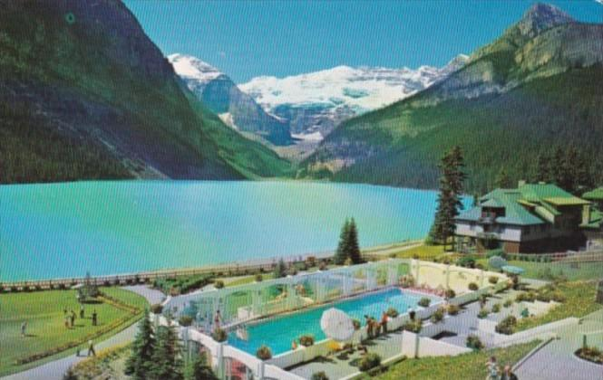 Canada Chateau Lake Louise Swimming Pool Lake Louise Alberta 1965 Hippostcard