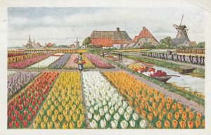 S'GRAVENHAGE, Netherlands, 1927; Woman in Flower Gardens, Windmill