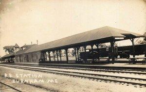 Burnham Junction ME Railroad Station Train Depot Real Photo Postcard