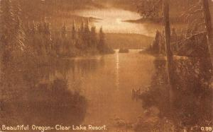 Clear Lake Oregon Resort Waterfront Scenic View Antique Postcard K86438