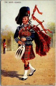 Vintage SCOTLAND Scottish Postcard THE SCOTS GUARDS Bagpipes c1910s