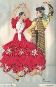 AS: SPAIN, 1950-60s; Embroidered, Ballet Espanol Fandango, Dancing Couple