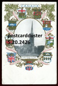 2426 - ST. JOHN NB Postcard 1908 Trinity Church. Patriotic Crest Maple Leaf