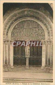 Old Postcard Autun (S & L) Portal Cathedrale Saint Lazare