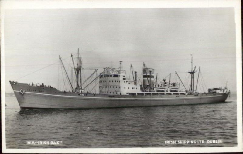 Irish Ship Mv Irish Oak Out Of Dublin C1950 Real Photo