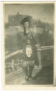Man posing in Scottish costume & Scenery