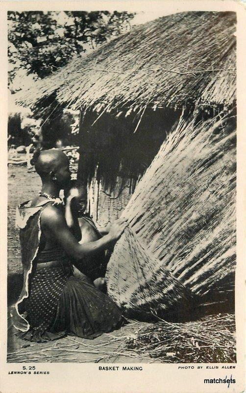 1920s African Village Woman Basket Maker Ethnic Lennons RPPC real photo 6396