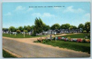 Postcard VA Fairfield Black and White Log Cabins Near Lexington Virginia W17