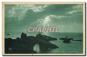 Old postcard Biarritz Cote Basque La Roche Percee and the Rock of the Virgin ...