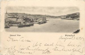 Vintage Postcard Overview Town River & Dock Waterford Ireland Munster