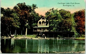 Vintage BURLINGTON, Iowa Postcard Carthage Lake Club House c1910s Unused