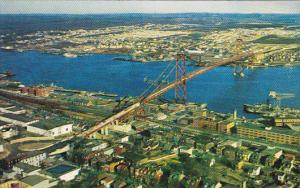 Aerial View, Angus L. Macdonald Bridge, HALIFAX, Nova Scotia, Canada, 40-60's