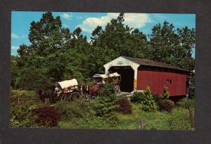 PA Amish Horse and Buggy Bridge Covered Wagon Lancaster Pennsylvania Postcard