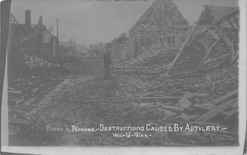 Peronne France~Destruction Caused by Artillery in WWI~Man by Rubble~c1915 RPPC