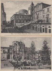 Noto R Instituto Magistrale 2x Old Chiesa Siracusa Postcard s