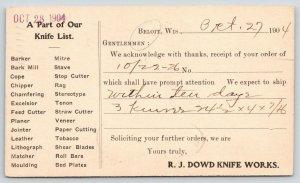 Beloit WI~RJ Dowd Knife Works~Geo Ertel Factory Order~Knife List~1904 Postal