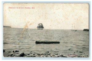 1910 Entrance to Detroit Harbor Wisconsin WI Antique Sailboat Postcard