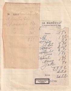 Le Maxeville Paris Montmartre Restaurant 2x 1940s Receipt Ephemera