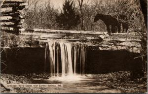 Eureka Springs Arkansas~Rural Scene~Horse Atop Waterfall~Gray Photographer~1910