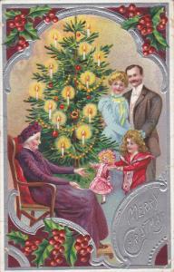CHRISTMAS, PU-1912; Family Scene Around A Christmas Tree, Merry Christmas