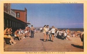 Atlantic Beach Rhode Island~Board Walk~Sandwiches~1950s Postcard