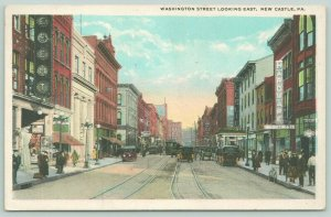 New Castle PA~Washington Street~Kirk Hutton Hardware~Theatre~Leslie Hotel~1922
