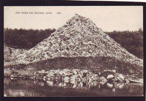 P1644 old unused postcard pulp wood pile rumford maine