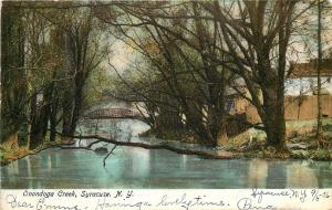 Syracuse New York~Tree Falls Across Onondoga Creek~Bridge1906 Postcard