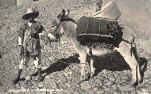 RPPC Vendedor De Carbon TAXCO Mexico Donkey Burro c1940s Vintage Photo Postcard