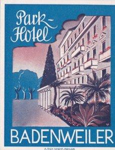 Germany Badenweiler Park Hotel Vintage Luggage Label sk1185