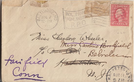 BALTIMORE - STREET CAR CANCEL on small envelope - dated 1915
